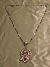 Silver Tone 30 inch Link Necklace Chain JESUS Head Pendant Rhinestones Hip Hop
