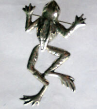 Silver Tone Frog Pin Mechanical Brooch