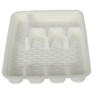 Kitchen Drawer Organizer. Cutlery Tray for Drawer. (5 Compartment) (White)