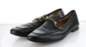 L36  NEW $830 Women's Sz 10  Gucci Brixton Horsebit Leather Loafers - Black