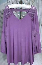 NEW~ Plus Size 3X 2X Lilac Plum Purple Lace V-Neck Tunic Boho Top Peasant Blouse