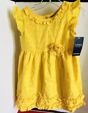 NWT Chaps Girls Yellow Eyelet Lined Sundress 4T