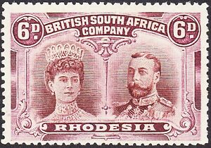 """Rhodesia 1910 6d P14 POSITION 2 CONSTANT VARIETY """"QUEENS THICK EAR"""" FINE MH OG"""