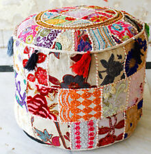 Indian Handmade White Round Pouffe Cover Vintage Footstool Ottoman Patchwork New