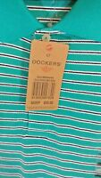 NWT Dockers Polo Shirt Mens Aqua Blue Stripe Big &Tall Short Sleeve large tall