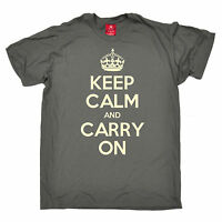 KEEP CALM AND CARRY ON T-SHIRT tee british funny birthday gift present for him