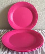 "Tupperware Open House Dessert Plates Set of 4 Round plates 8"" Pink New"