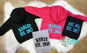 Personalised Baby/Childrens Hoodie. Est year & Name. Great Gift.