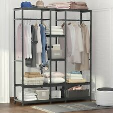 Tribesigns Rod Free Standing Closet Organizer Clothes Garment Rack with Shelves
