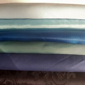 Job lot 10 metres of blue fabric crafts quilting face masks satin voille cotton
