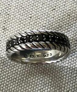 DAVID YURMAN 1.66 Ct Pave Black Diamond Streamline Eternity Band Sz 11 $1350