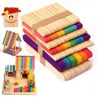 50 piezas DIY palo de madera palillos de helado coloridos manualidades Arte