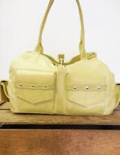 BOTKIER Gorgeous Metallic Yellow Leather Multipocket Hook Latch Bag Tote Purse