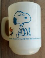 Vtg Fire King Snoopy Mug I'm Not Worth A Thing Before Coffee Break 1965 mug