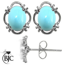 Pendientes de joyería con gemas naturales turquesa de plata de ley