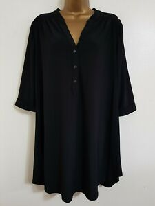 NEW Ann Harvey Plus Size 16-28 Relaxed Fit Black Button Front Tunic Blouse Top