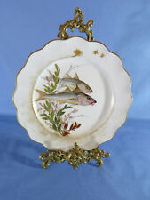 More details for doulton burslem early 20th century hand-painted fish pattern cabinet plate #1