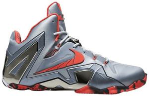 Nike Lebron 11 ELITE Basketball Shoe Sz 9.5 Wolf Grey Laser Orange 642846-001