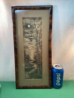 Vtg 20-30's Original Pencil Charcoal Drawing Art FULL MOON Winding Stream framed