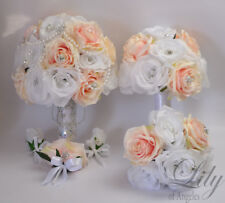 17 Piece Package Wedding Bridal Bouquet Silk Flowers PEACH BLUSH BROOCH JEWELRY