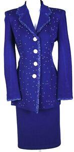 ST.JOHN Womens Knit Fringed Purple Rhinestone Shimmer Trim Jacket  Skirt Sz 8-10