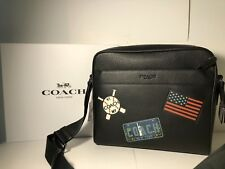 Coach Charles Slate Black with Patches Leather Camera Bag NWT
