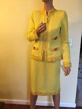 LUCIA LOOMS DESIGNER $1,280 YELLOW GOLD KNIT STRETCH SKIRT SUIT JACKET M 8 NWT