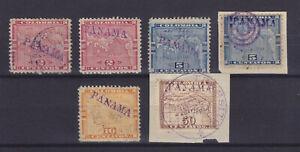"""PANAMA 1903, OPTS, YVERT TYPE """"F"""", 6 STAMPS"""