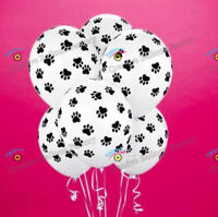 "6x 12"" White Paw Print Latex Balloons Animal Dog Cat Pup Pet Party Decorations"