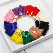 'NEW ROUND BOHO SILKY TASSLE DANGLE FRINGE TASSEL EARRINGS DROP DESIGN UK STOCK
