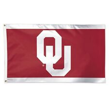 """OKLAHOMA SOONERS """"OU"""" 3'X5' DELUXE FLAG BRAND NEW FREE SHIPPING WINCRAFT"""