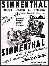 PUBBLICITA' 1939 SIMMENTHAL CARNE IN SCATOLA MANZO VERDURE GELATINA  SADA MONZA