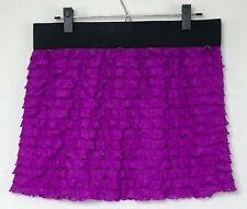 Free People Ruffled Purple Mini Skirt with Black Elastic Waist Size L