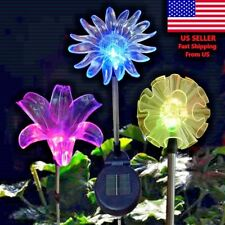Solar Flower Color Change Garden Decor Stake Outdoor Dandelion,Lily or Sunflower
