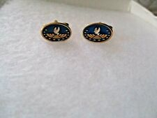 MEN'S  GOLD COSTUME ENAMEL DOVE AND STARS OVAL CUFFLINKS