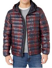 Tommy Hilfiger Men's Ultra Loft Hooded Logo Puffer Jacket NWT Navy/ Red Print
