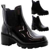 Womens Chelsea Ankle Boots Ladies Zip Block Heel Chunky Platform Work Shoes Size