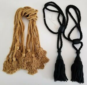 Vintage Curtain Drapery Tassle Tie Back Lot Gold and Black