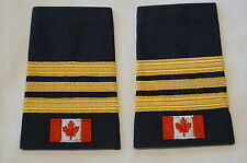 Canadian Fire Two 2 and 1/2 Bars Gold with Flag Shoulder Slip Ons Pair
