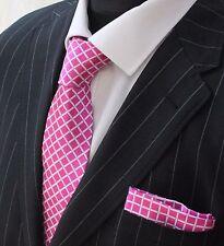 Tie Cravatta con fazzoletto di verificare con rosa con controllo incrociato bianco