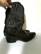 Laredo Mens Classic Leather Cowboy Boots Gold Toe Size 7D 28-2637
