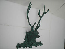 Metal Wall Mounted Large Stag Head Coat Hooks 26 inches Deer Faux Taxidermy au