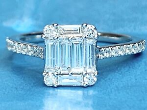 Emerald Cut Diamond Cluster Engagement Ring White Gold G colour