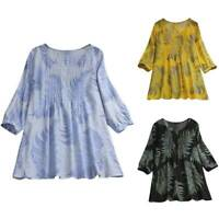 Plus Size Women Boho Floral Long Sleeve Blouse Shirt Casual Loose Tunic Tee Tops