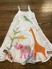 Vintage Cotton Kids White tank dress Girls Dress Size 6 animals stitched