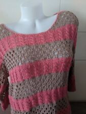 Cotton On Pink Striped Crochet Knit Sweater Size m