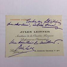 Jules Leitner Comédie-Française petite carte autographe signée manuscript