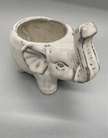 Elephant Ceramic Pottery  Planter Ivory