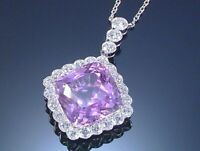 3Ct Cushion Amethyst Synt. Diamond Solitaire Pendant White Gold Fns Silver Chain