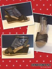 UGG size 9US Nyssa Wedge Metallic Black Gold Canvas Leather Sandal new